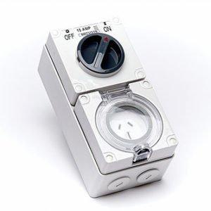 1P 15A 250V 3 Flat Pins combo switch & socket